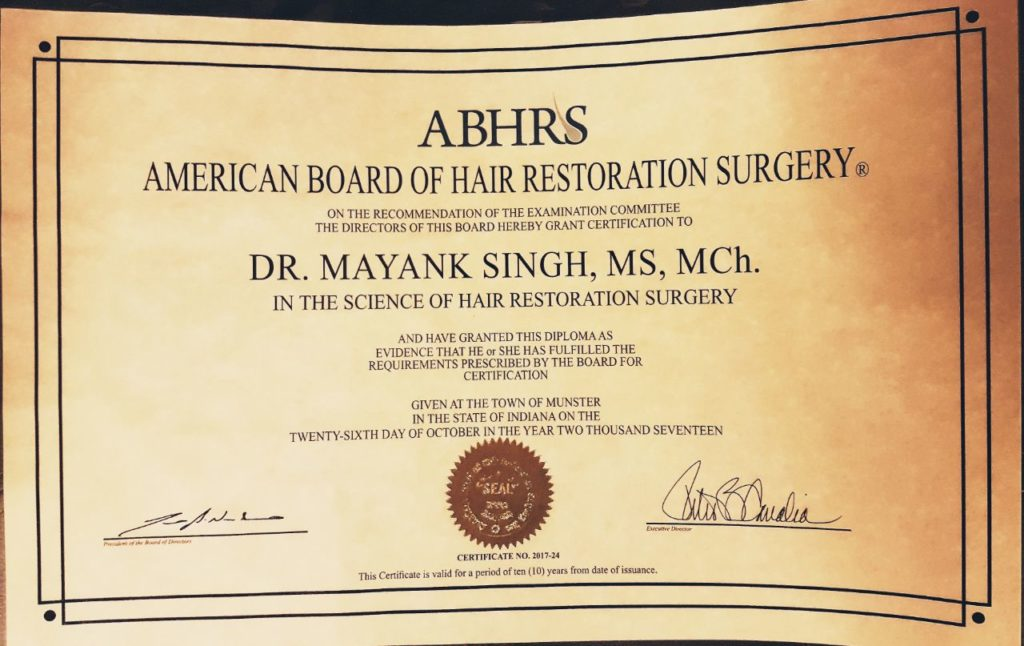 American Board of Hair Restoration Surgery 2017